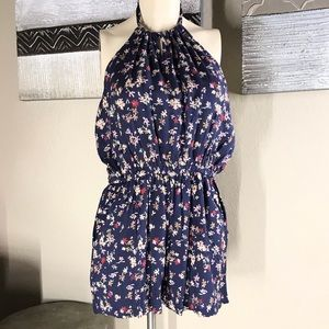 NWT- ANGIE- FLORAL HALTER NECK ROMPER